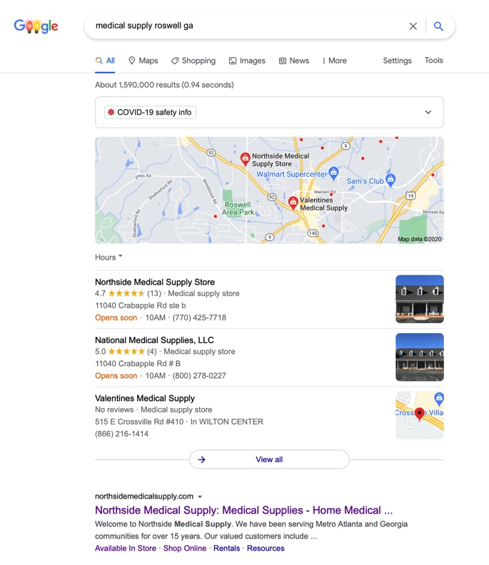 Google ranking for Northside Medical Supply store