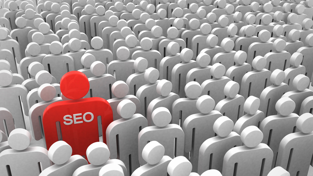 SEO person icon is red in a sea of white icons