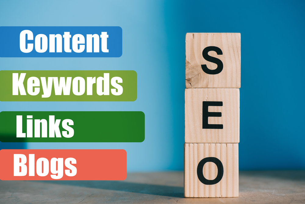 SEO word with related words in a stacking image