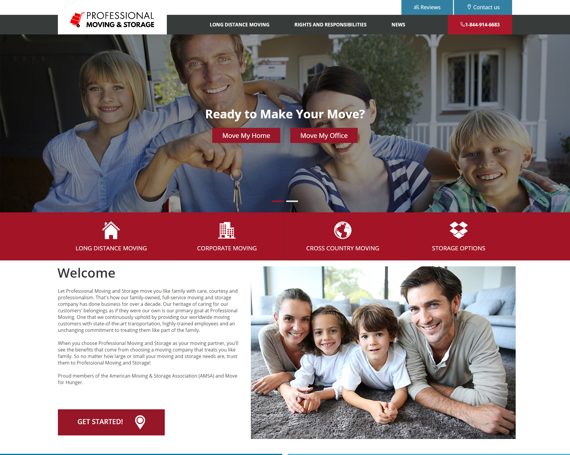 Example of a Moving Company Website Design